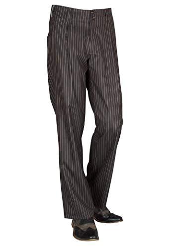 Schokobraun Weiss gestreifte Swing Bundfaltenhose 50er 60er Jahre Herren Retro Vintage Stil Model Swing Größe 50