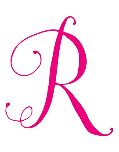 StikArt Cursive Script Letters for Personalized Custom Name Wall Decals, Capital Letter R (Pink)
