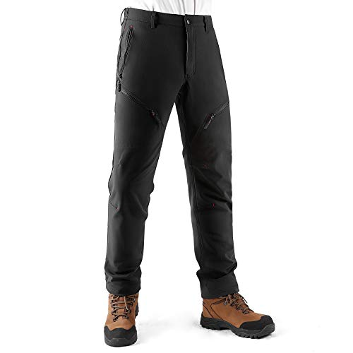 KUTOOK Mens Outdoor Casual Hiking Trousers Walking 6-Pocket Thermal Fleece Water Repellent Walking Tactical Cargo Work…