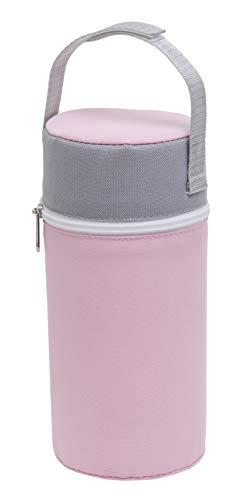 Rotho Babydesign Isolierbox mit Stoffbezug, Für Weithalsflaschen, 10,5 x 10,5 x 22,2 cm, Tender Rosé Pearl/Weiß/Perlsilber, 300650263