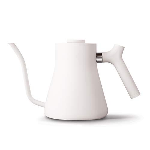 Fellow Stagg コンロ用注ぎ式ケトル コーヒーやお茶用 1.0L グースネック 精密注ぎ口 醸造範囲温度計 カウンターバランスハンドル (マットホワイト)