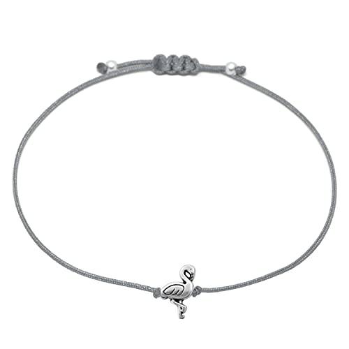 Selfmade Jewelry Flamingo Armband Silber Grau - Größenverstellbares Makramee Armband Handmade