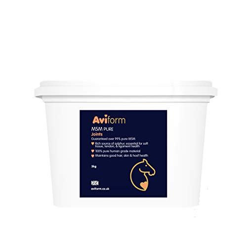 Aviform MSM Equine Joint Supplement for Horses and Ponies. Highest Purity for Excellent Joint Maintenance, Healthy Growth of The Hoof, Tendons, Soft Tissue, Muscles and Ligaments - 3kg