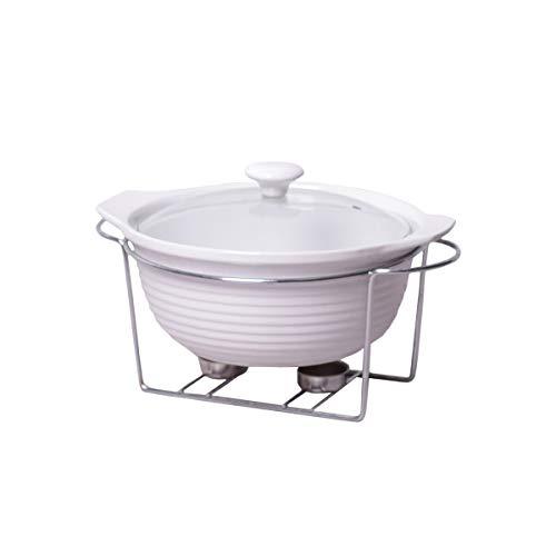 4BIG.fun 2,4L Keramik Speisenwärmer Wärmebehälter Chafing-Dish Teelicht Warmhaltegerät Warmhaltebehälter