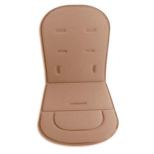 Cojín para cochecito de bebé, alfombrilla para asiento de coche, universal, transpirable, suave (marrón)