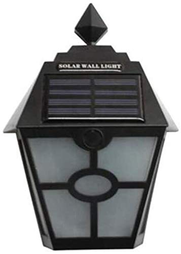 Solar outdoor Retro landschap licht, lichtregeling waterdichte hek binnenplaats gang wandlamp (2 packs), zwart, witlicht, (Color : Black, Size : Warmlight)