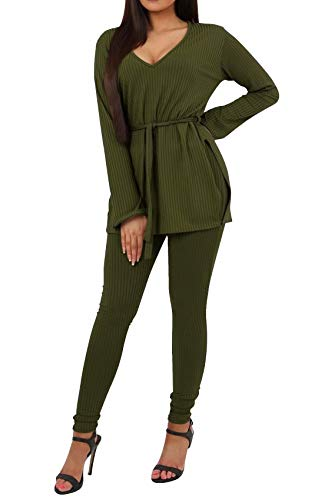 Rompers and Jumpsuits for Women - Elegant Split Long Sleeve Belted Slit Sweatshirts Tops Bodycon Pants Set Clubwear Tracksuit Army Green XL