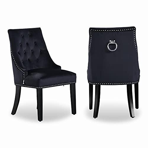 Life interiors: Silla de terciopelo Windsor | tela de terciopelo copetudo | golpeador de puerta | tachonado | silla de comedor | silla auxiliar tapizada | silla de tocador | (negro, 4)