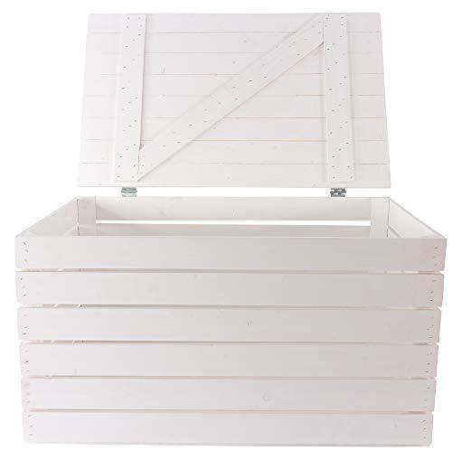 Kontorei 1x moderne, witte houten kist met deksel, voor opslag, maar ook als salontafel met opbergruimte, nieuw, 85 x 55 x 46 cm