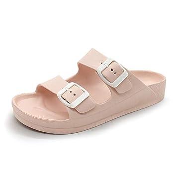 LUFFYMOMO Adjustable Slip on Eva Double Buckle Slides for Womens 9 M US Pink