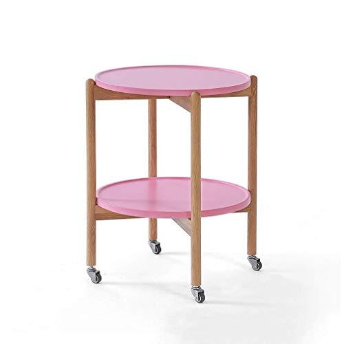 N/Z Living Equipment Utility Rollwagen mit Rädern Round Storage Organizer Werkzeugwagen Sofa Beistelltisch Beistelltisch Wohnzimmer Schlafzimmer 2 Tier Eichenholz Nachttisch (Farbe: Pink)