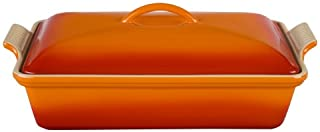 "Le Creuset Stoneware Heritage Covered Rectangular Casserole, 4 qt. (12"" x 9""), Flame"