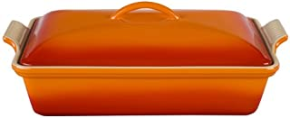 Le Creuset Heritage Stoneware 12-by-9-Inch Covered Rectangular Dish, Flame
