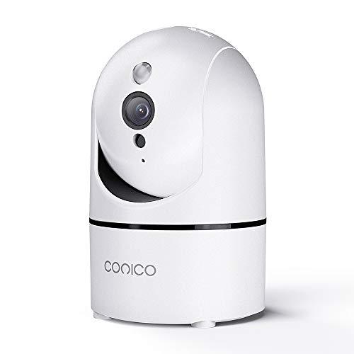 Conico 監視カメラ ネットワークカメラ 400万画素 Wi-Fiカメラ ペットカメラ フルHD 屋内防犯IPカメラ ベビーモニター ペット監視カメラ 子供 ペット 老人見守り 超広角 高解像度 遠隔操作 暗視機能 双方向音声 移動追跡 動体検知 音声検知 スマホ通知 日本語アプリ 技適&PSE認証済み ホワイト