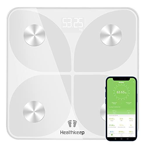 körperfettwaage Personenwaage Digitale Körperwaage mit Körperanalysewaage BMI Smarte Waage Personen mit Körperfett und Muskelmasse BMR für App Extra Groem LED-Anzeige Tragkraft bis 180 kg Weiß