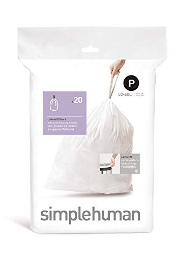 simplehuman CW0175 50-60 L Müllbeutel Code P, Plastik, Weiß, 21,6 x 15,2 cm