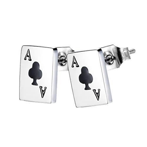 1 par de Pendientes de Póker de Acero de Titanio Pendientes de Naipes Pendientes de Oreja Joyería Regalo para Mujeres Accesorios de Moda