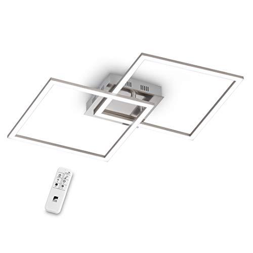 EGLO LED Deckenleuchte Palmaves 1, 2 flammige Deckenlampe aus Aluminium, Stahl, Kunststoff, Gebürstet, Nickel-Matt, Weiß, mit Fernbedienung, Lichtfarbe warmweiß – kaltweiß, Nachtlicht, dimmbar
