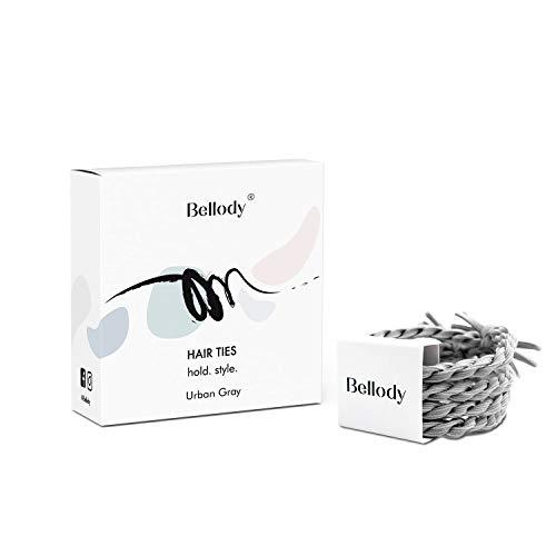 Bellody® Original Haargummis - Stylisch geflochtene Haargummis mit starkem Halt (4 Stück - Urban Gray)