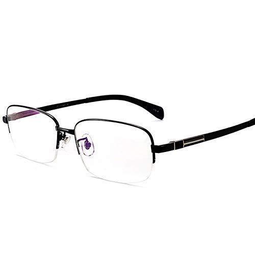 MKKSLR Progressive Multifocal Lesebrille, hochwertige Herrenmode Nah- und Fern-Dual-Purpose-HD-Brille, ultraleichte Anti-Blau-Lesegeräte Smart Zoom Pure Titanium Frame, Schwarz