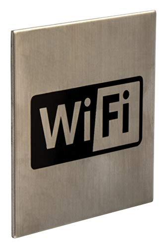 Gedotec selbstklebende Türschilder Edelstahl Toiletten-Schild eckig - WIFI - WLAN FI10012   WC-Symbol für Zimmertüren   Edelstahl matt gebürstet   75 x 75 mm   1 Stück - Design Tür-Schild zum Kleben
