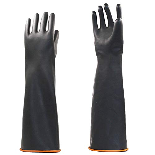 """Jewboer 2 Pairs 22"""" Heavy Duty Rubber Gloves,Chemical Muriatic Acid Resistant Latex Gloves,Waterproof Dishwashing Household Cleaning Protective Safety Work Industrial Gloves,Black"""