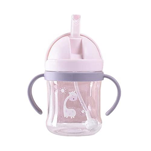 Vaso infantil para beber con botella de agua y vaso para beber con doble asa de paja (Rosa)
