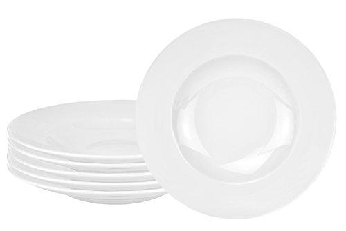 Van Well 6er Set Pasta Bowl, 500 ml, Ø 30 cm, tiefer Menüteller, Nudelteller, edles Markenporzellan, glänzend, klassisch weiß, rund