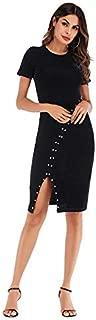 ZCLAU Hem Round Neck Beaded Skirt Split Package Hip New Slim Solid Color Short-Sleeved Summer Dress (Color : Black, Size : L)