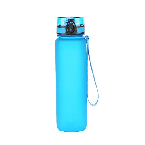 OKESYO Botella de agua de 1 L, deportiva, a prueba de fugas, botella de agua con ácido carbónico, para gimnasio, fitness, bicicleta, niños, escuela y oficina
