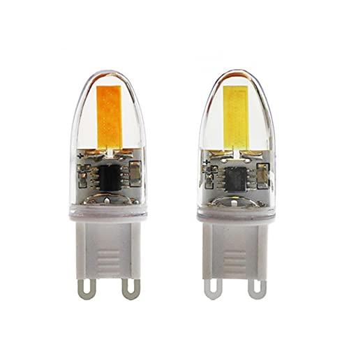 GHC LED Bombillas 5pcs LED Bulbos LED Dimmable COB 220V G9 Super Bright Tube de Alta Potencia para lámpara de araña D16MM * H47MM Reemplace 50W Halógeno G9 (Color emisivo : Warm White)