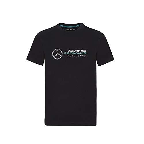 Mercedes-AMG Petronas T-Shirt für Jugendliche, Formel 1, großes Logo, Schwarz, Größe M (5-6)