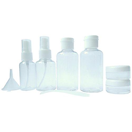 Neceser transparente - 8 envases impermeables   1l de capacidad   bolsa de cosméticos - equipaje de mano   transporte de líquidos en el avión - botella set de viaje   hombre - mujer