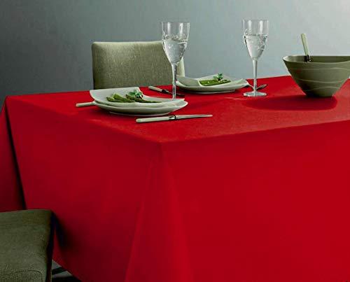 GoldenHome Tovaglia Rossa 140 x 360 cm. Extra Lunga in 100%Cotone. Altissima qualità Made in Italy. Lavorazione Jacquard (140 x 360 cm)