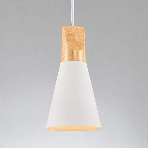 WEM Lámpara colgante de techo de madera ligera minimalista nórdica con pantalla de cono de metal, accesorios de iluminación de suspensión para sala de estar, comedor, restaurante, dormitorio, mesita