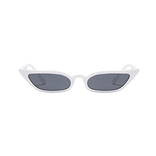 URSING Damen Vintage Katzenaugen Sonnenbrille Retro Kleiner Rahmen UV400 Brillenmode Cat Eye Sunglasses Mode Trendy Klassische Nachtsichtbrille Unisex UV400 Treibenden Gläser (Weiß)