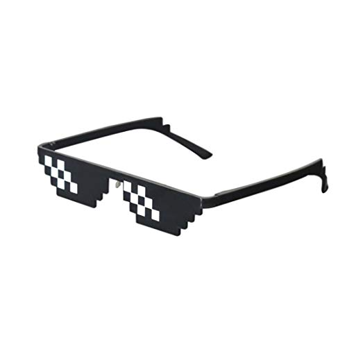Best-Bag Cool Thug Life Glasses Black 8 Bit Pixel Funny Sunglasses Amusement Unisex Eyeglasses Photo Props Sunglasses Toy (S)