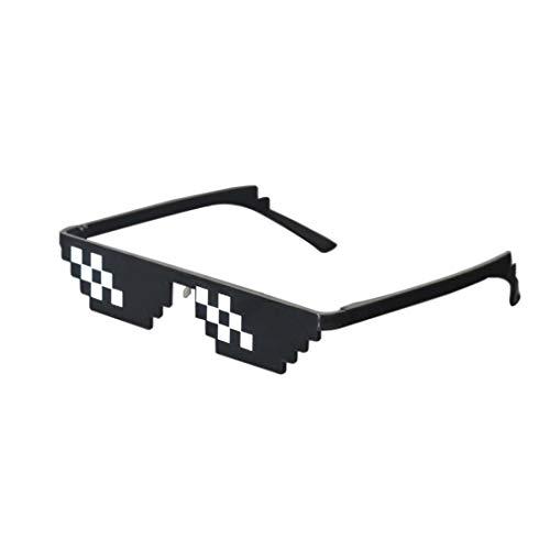 Best-Bag Cool Thug Life Gafas Negro 8 bit Pixel Gafas de Sol Divertidas Unisex Lentes Gafas de Sol Juguete (S)