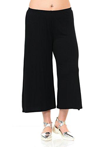 Pastel by Vivienne Women's Wide Leg Crop Culottes Plus Size XX-Large Black