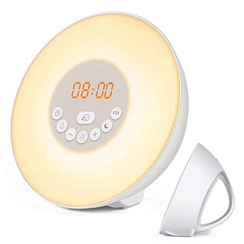 QFLY FM-wekker, zonsopgang wekker, licht met 6 natuurlijke geluiden digitale klok, aanraakbesturing (wit) (kleur: American Standard Power Supply)