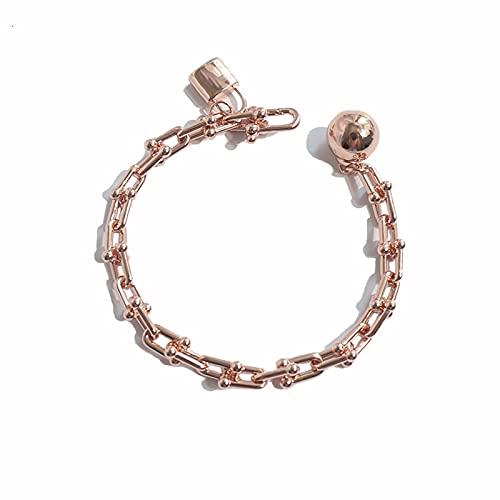 Aoliao Pulsera chapada en cobre de un solo círculo personalizada, con cierre de bola, regalo encantador para mujeres y niñas