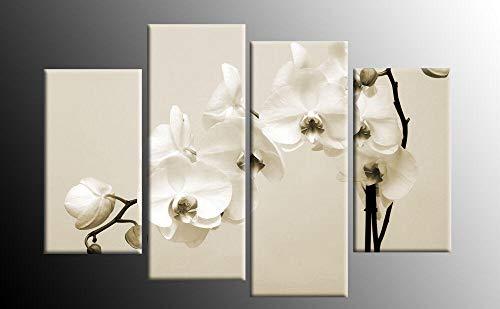 Cuadro En Lienzo 4 Piezas Impresiones sobre Lienzo Orquídeas Sepia Blanco Crema Beige ImpresióN HD Pintura 4 Piezas Modernos Salón Decoracion Murales Pared Lona XXL Hogar Dormitorios Decor