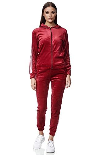 Damen Trainingsanzug Jogginganzug 2 teiler Kapuzenpullover Hose Sportanzug Yoga Velour Velvet Sporthose Chil zuhause Modell 311 Rot XL