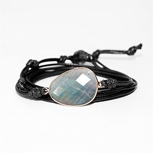 Marekyhm -uk Pulsera envuelta en cuerda de piedras naturales pulsera de la amistad única pulsera étnica hecha a mano (color metálico: negro)