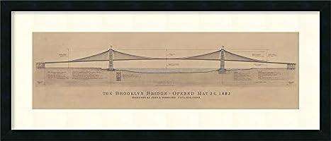 Framed Wall Art Print Brooklyn Bridge by Craig S. Holmes 40.12 x 17.12 in.