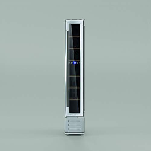 Maison Cavist CVST7 Vinoteca 7 Botellas Encastrable, Con Compresor, Refrigeración Termodinámica, 22 litros, 1 Zona, Temperatura Ajustable, Silenciosa 42 dB, Acero Inoxidable, Plateado, 15x52.5