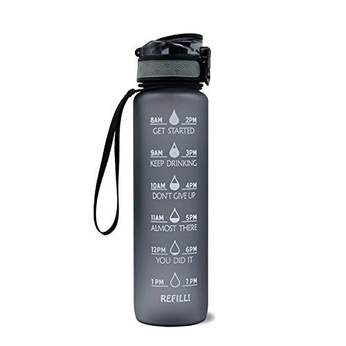 YING Botella de Agua Deportiva 1000 ml con Filtro Taza de Agua Deportiva de plástico no tóxico Botella de Agua Duradera a Prueba de Fugas,Gris