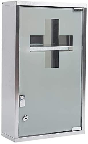 Zedelmaier Medizinschrank aus Edelstahl abschließbarer Arzneischrank Erste-Hilfe-Schrank Hausapotheke, Glas Tür, Silber-3 Fächer, 27 x 12 x 48 cm