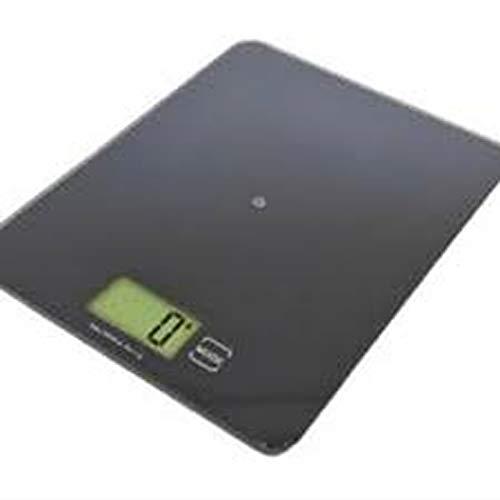 Maßstab, schwarz, kann mit dem Inhalt in der Schale auf Null eingestellt werden. Maße aufgebaut: Länge: 21 cm, Breite: 16 cm. Belastbarkeit: 5 kg min. Gewicht: 2 g