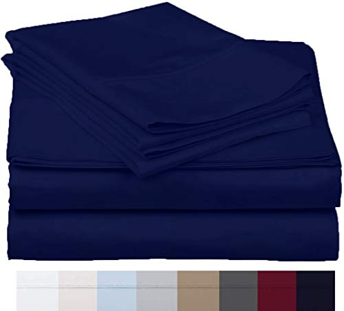 The Bishop Cotton 100% Egyptian Cotton 800 Thread Count 4 PC Solid Pattern Bed Sheet Set Italian Finish True Luxury Hotel Collection Fits Up to 16 Inches Deep Pocket (Queen, Medium Blue).
